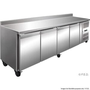 GN4200FE Tropicalised S:S 4 Door Gastronorm Bench Fridge With Splashback